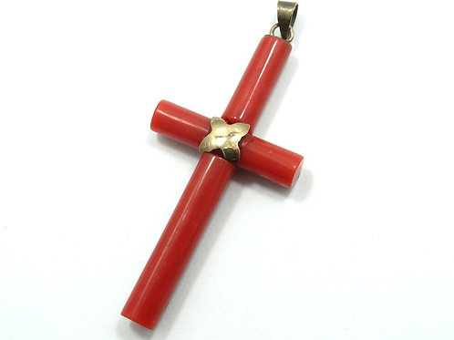 Victorian Antique Mediterranean Deep RED CORAL 14k Yellow Gold Cross Pendant