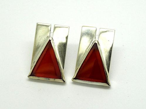 SCABRALES Geometric Carnelian 925 Silver Earrings