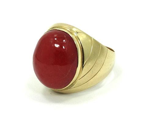 Men's Amazing Rare Cabochon RED JADE Heavy 14k Ring