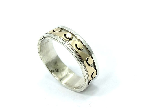 Native American S. SKEETS 14k Gold Wave & Sterling Silver Band Ring
