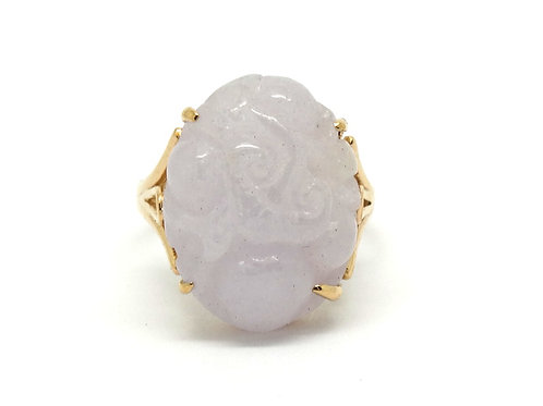 Oval Carved Floral Lavender JADEITE 14K Rose Gold Ring