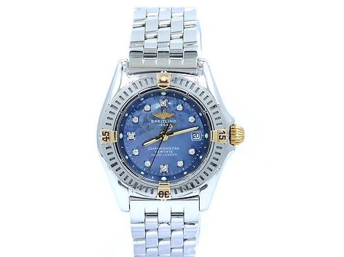 Callistino BREITLING Diamond Blue Mother of Pearl Dial Two-Toned Watch B72345
