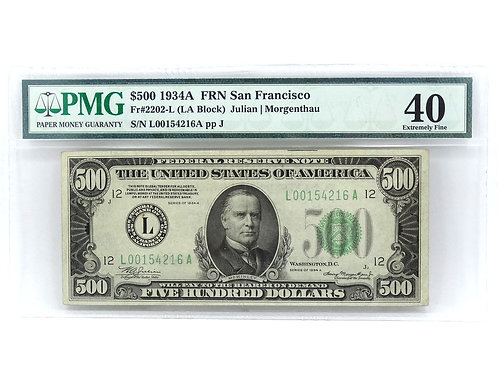 PMG XF-40 1934-A McKinley $500 DOLLAR BILL San Francisco Note Fr#:2202-L