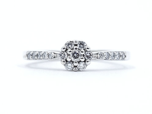 """Gorgeous Genuine DIAMOND Flower """"R"""" Sterling Silver Engagement PROMISE Ring s.6"""