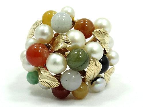 Vintage MING'S Honolulu AKOYA PEARL Multi-Color JADE Cluster 14k Gold Ring