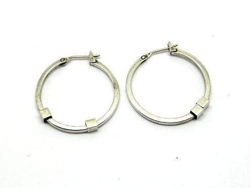 Vintage Deco CIANI (for Monet) Sterling Silver Hoop Earrings