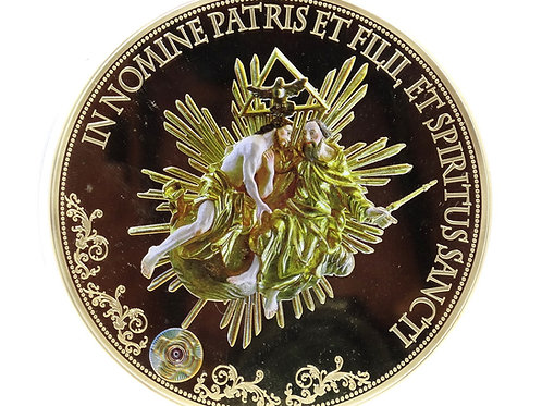 100mm 2015 HOLY TRINITY Father, Son, Holy Spirit AMERICAN MINT Gold Plate Medal