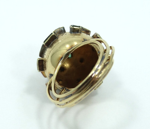 ed2a79f2f Vintage Mid-Century MODERNIST Genuine Green EMERALD Yellow Gold DOME Ring