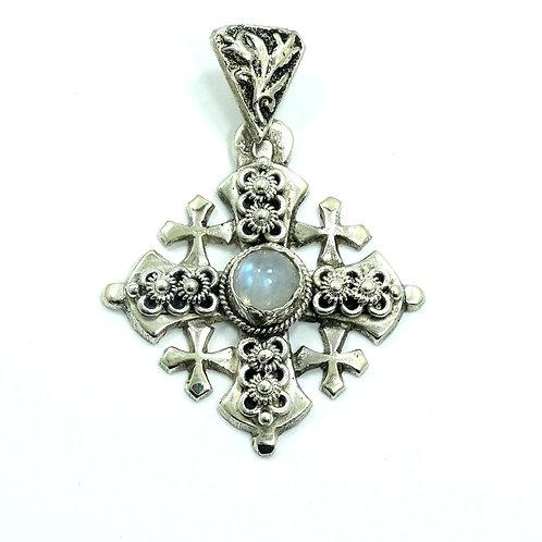 Vintage JERUSALEM Labradorite 950 Silver CRUSADER'S MALTESE 5 CROSS Pendant