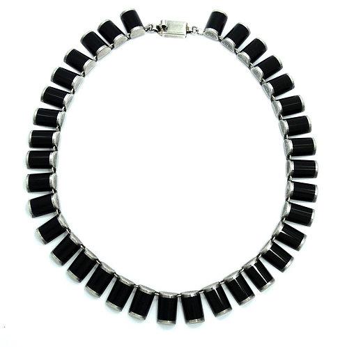 "Vintage Mexico CII Black Onyx Sterling Silver Link Necklace 16"""