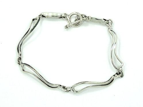 GGIII Vintage Mexico petite Modernist Designer 925 Sterling Silver Link Bracelet