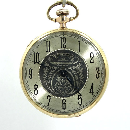 Antique Art Deco WALTHAM A.W.W.CO USA 15 Jewels Gold Filled Winding Pocket Watch