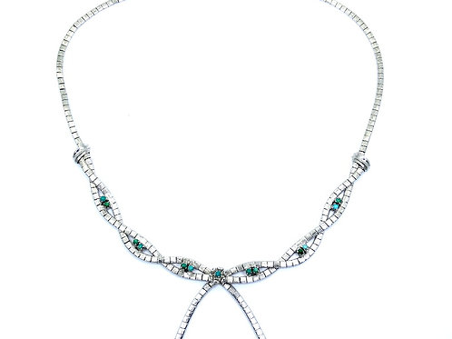 Vintage 1950s Rhodium Plated Sterling Silver Turquoise Bead Twist Knot Necklace