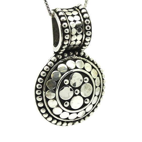 JOHN HARDY Round Disc CIRCLE DOT Sterling Silver Charm Pendant JH