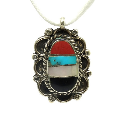 Native American Sterling Multi Stone Pendant