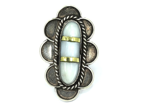 Vintage OLD PAWN NAVAJO MOP Mother of Pearl Brass & Sterling Silver Ring