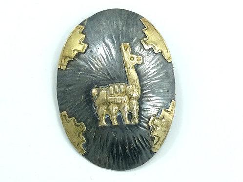 Vintage PERU 18k Gold Llama 925 Silver Bolo Tie Scarf Clip Brooch Pin Pendant
