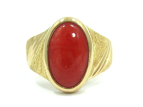 Vintage Mens Natural RED SALMON CORAL 22K Fine Gold Ring s.9