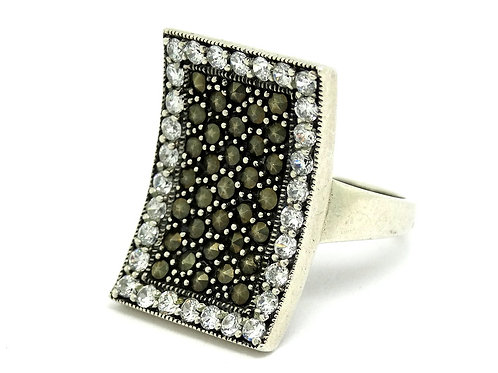 Marcasite CZ CONCAVE Sterling Silver WS Ring
