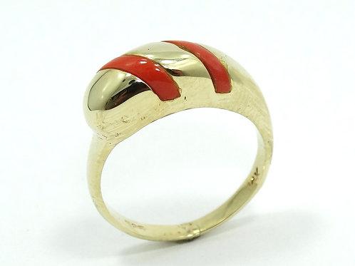 Italian Modernist Mediterranean RED CORAL Inlaid 14kt Gold Caterpillar Ring s.7