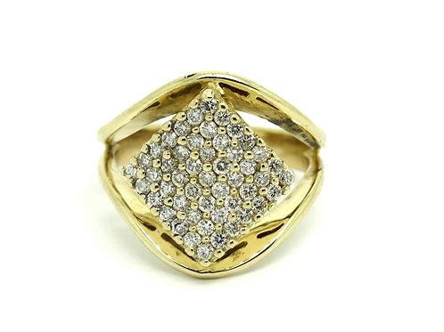 Men's 1.5 Ct DIAMOND CLUSTER Split Band 14k Gold Ring s.11