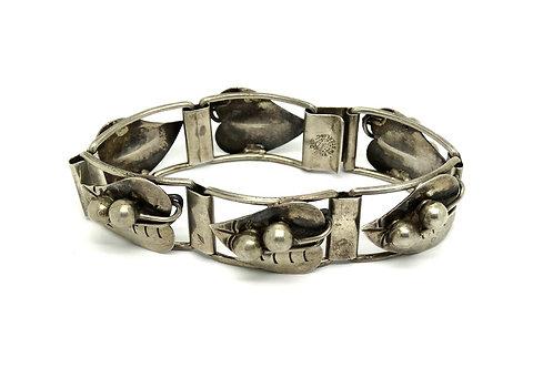 Vintage ETD Mexico PEAS LEAVES VINES 925 Silver Bracelet