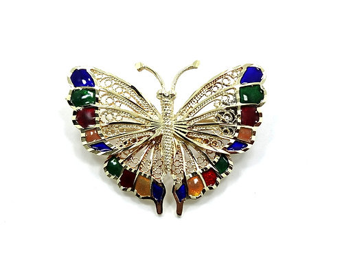 Beautiful 14k Gold BUTTERFLY Brooch Pin with Colorful Enamel Wings TURKEY