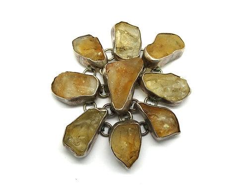 CII RAW Natural CITRINE Stone 925 Silver Pendant