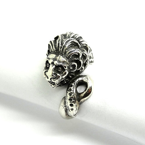 Fierce LION HEAD & Dragon scales 900 Silver Ring