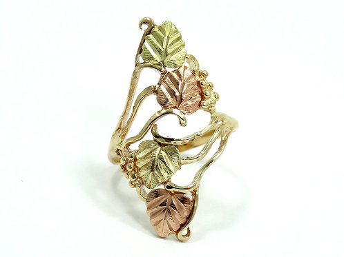 Vintage BLACK HILLS 10K Rose Yellow GOLD CCO Coleman Co Grapes Leaves Ring 5-1/2