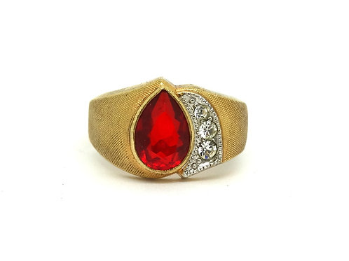 Red Tear Drop Unisex C&C Pear Shaped G.F. Ring