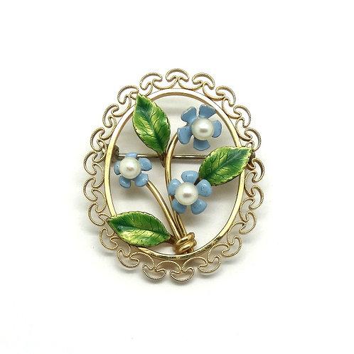 Art Nouveau Gold Filled Enamel Pearl Floral Pin