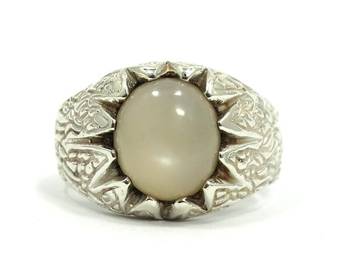 Vintage Men's Cabochon MOONSTONE Dendronic Branch Sterling Silver Ring s.10