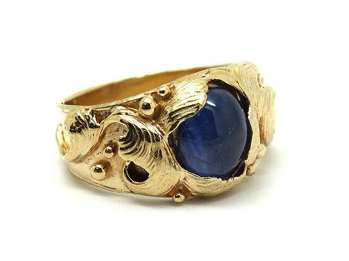 Mens SAPPHIRE Vintage Nouveau style 14k Gold Ring