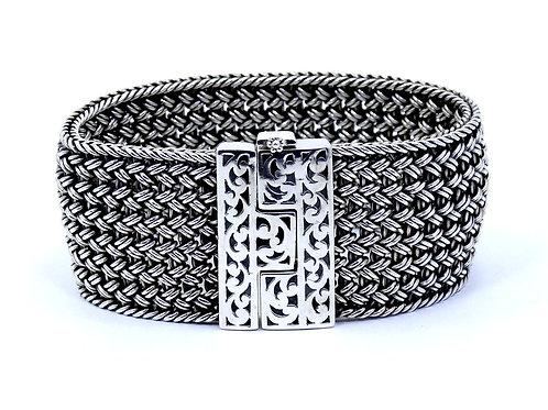 "LOIS HILL INDONESIA 29 mm Wide Mesh WEAVE Link Sterling Silver Bracelet 6-1/2"""