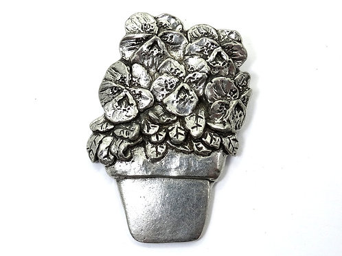 SHERIDAN Potted PRIMROSE Flower Fine PEWTER Brooch Pin