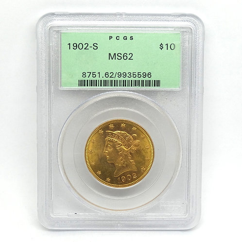 1902-S $10 LIBERTY GOLD EAGLE MS62 PCGS OGH