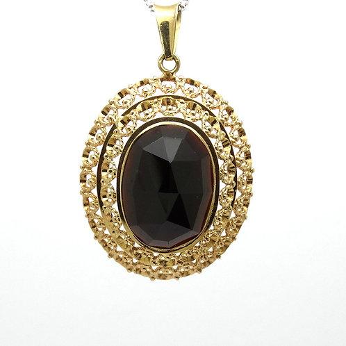 Victorian Style GARNET 14K Gold Filigree Pendant