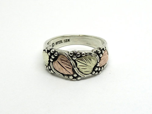 Size 5 Sterling and 12 K Black Hills Gold Ring by Wheeler Mfg Co