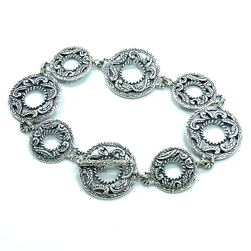 Exquisite Carolyn Pollack RELIOS 925 Silver Filigree Disc Link Toggle Bracelet