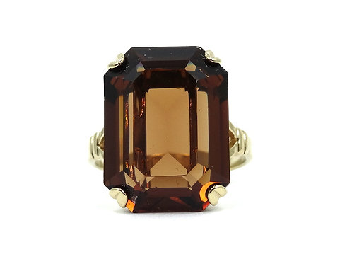 Fabulous Runway Fashion AVON Faux Smoky Quartz Gold Toned GP Ring 8-3/4
