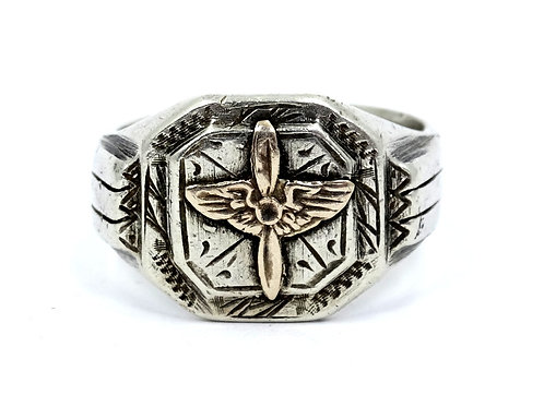 Vintage WW2 AIRFORCE US ARMY Aviation USAAF 925 Silver Ring 14k Gold Wings/Prop
