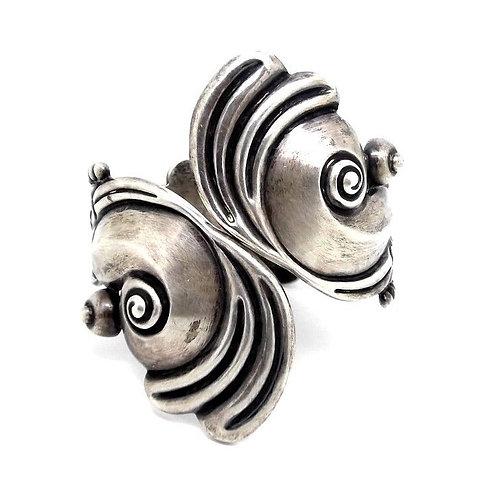 Signed HL HILARIO LOPEZ Rare Vintage Sterling Silver Cuff Clamp Bangle Bracelet