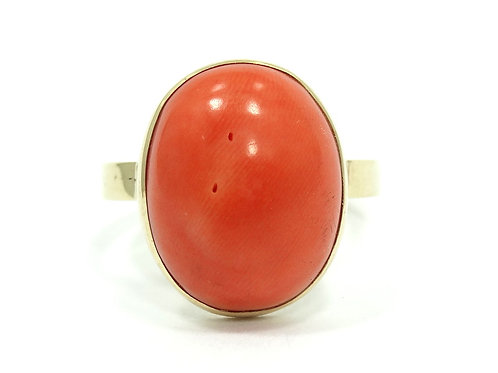 Gorgeous Vintage Oval Cabochon SALMON Pink CORAL 14k Ring s.7