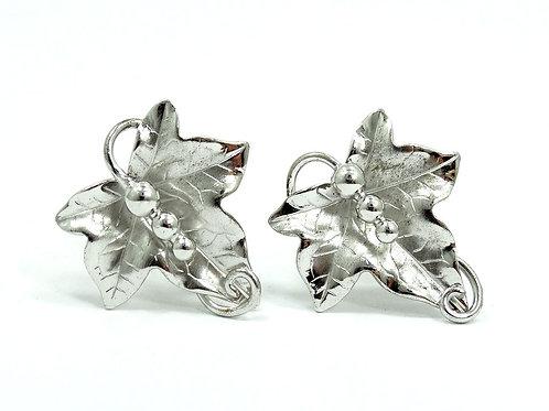Vintage CARL ART LEAF GRAPES Rhodium Plate Sterling Silver Screwback Earrings
