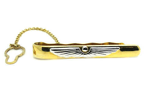 CADUCEUS Medical Emblem Gold Plate Sterling Silver Tie Clip Italy *643 AR