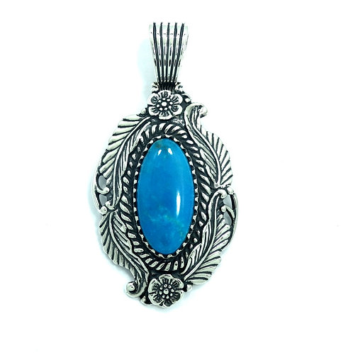 Carolyn Pollack RELIOS Flower Feather NAVAJO Blue Turquoise 925 Silver Pendant