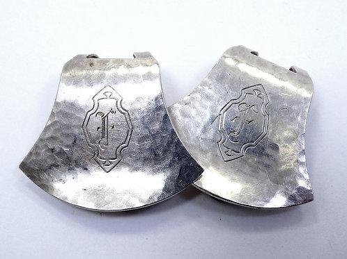 """2 Antique Art DECO era WEBSTER Hammered Sterling Silver NAPKIN CLIP Holders """"F"""""""