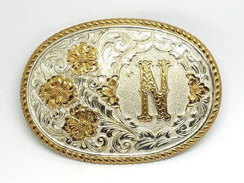 "Large Crumrine Oval Flower Belt Buckle ""N"""