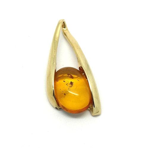 Modern 14k Gold Tension set Honey Amber Pendant